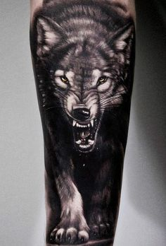 Black and grey realistic tattoo style of Wild Wolf motive done by artist Andrey Stepanov Wolf Sleeve, Wolf Tattoo Sleeve, Nature Tattoo Sleeve, Sleeve Tattoos, Tattoo Nature, Chest Tattoo, Wolf Tattoos Men, Badass Tattoos, Body Art Tattoos