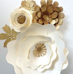 Paper Flower Wall Decor, large paper flower backdrop, paper flowers in cream and gold by PaperFlora on Etsy https://www.etsy.com/listing/227067037/paper-flower-wall-decor-large-paper