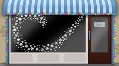 Christmas window ideas for your seasonal shop window display -- snow flake decals