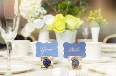 navy blue place card holders wine themed wedding