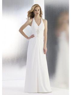 A-Line Halter V-Neck Sweep Trailing Chiffon Beach Wedding Dresses