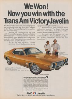 1973 AMC Trans Am Victory Javelin Racing Car Photo Ad George Follmer & Roy Woods Gold Automobile Vintage Advertising Print Wall Art Decor