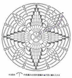 Crocheted motif no. 1617 - Her Crochet Crochet Mandala Pattern, Crochet Doily Patterns, Crochet Diagram, Crochet Squares, Crochet Designs, Crochet Stitches, Crochet Dollies, Crochet Flowers, Crochet Lace
