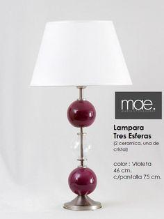 lampara 3 esferas - violeta y vidrio