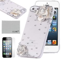 Pandamimi ULAKTM Luxury Bling Rhinestone Sweety Girls Fashion Hard Case Cover for iPhone 5 5s with Screen Protector (White/Flower) by ULAK, http://www.amazon.com/dp/B00FDMQ50O/ref=cm_sw_r_pi_dp_WXqqsb0RJAW43