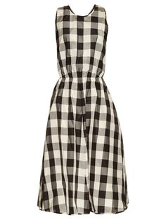 Rochas Madras Checked-print Silk And Cotton-blend Dress In Black Silk Midi Dress, White Midi Dress, Chiffon Dresses, Day Dresses, Dresses For Work, Party Frocks, Silk Chiffon, Dress Backs, Women Wear