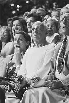 Picasso at a bullfight with Jacqueline, Paloma, and Cocteau, 1955, Brian Brake