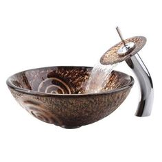 KRAUS Glass Vessel Sink in Luna with Pop-Up Drain and Mounting Ring in Gold-GV-650--G - The Home Depot