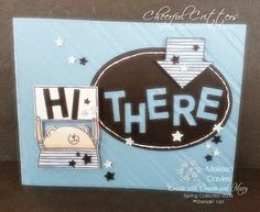 by Melissa: Cheerful Critters, Stripes embossing folder, Little Letters Thinlits, Confetti Stars punch, & more. All supplies from Stampin' Up! Mat Paper, Paper Cake, Stampin Up, Punch Art Cards, Blender Pen, Gel Pens, Embossing Folder, Spring Collection, Paper Piecing