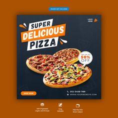 SEO Marketing Social Media Pizza or fast food menu social media ins. Food Graphic Design, Food Poster Design, Menu Design, Food Design, Banner Design, Flyer Design, Design Ideas, Pizza Poster, Restaurant Poster