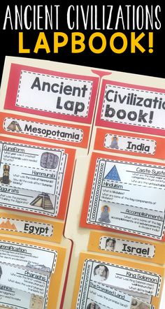 Ancient Civilizations Lapbook! Great for 6th grade students. Review of Ancient Mesopotamia, Ancient Egypt, Ancient India, Ancient China, Israel, Greece, and Rome! https://www.teacherspayteachers.com/Product/Ancient-Civilizations-2497193