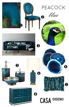 """Color Chic: Decorating with Peacock (Blue) #decorating #peacockblue #decor Artwork is """"Agave"""" by Karen Dupre"""