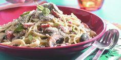Boodschappen - Spaghetti met spekjes en paddestoelen in roomsaus