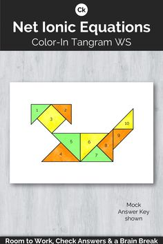 Whether identifying the net ionic equation the precipitate or spectator ions this one-page activity sheet provides students with practice with space for work self-monitor & reveal a colored tangram (brain break! Science Resources, Math Activities, Teacher Resources, Physical Activities, High School Science, School Fun, Science Fun, Teaching Math, Teaching Ideas