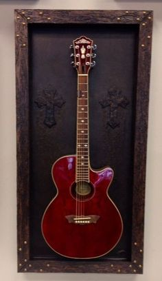 "Guitar Display Shadow Box, Instrument Case, Guitar stand mount,  ""Night Light"""