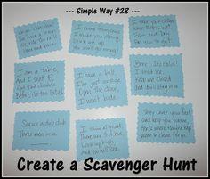 Scavenger Hunt!  Clues for a preschooler & toddler.