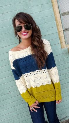 This sweater is so gorg! Love the colors and pattern! Of course, best paired with aviators, loose waves, and your favorite brown boots
