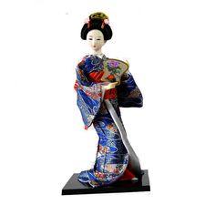 Japanese Geisha Kimono Collectible Doll Sitting Humanoid Kabuki GIRL Statue