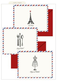 These Paris notecards are so cute! I love sending / receiving mail... I'm sad it's almost considered a 'lost art' now. Whenever I receive a personal letter, it totally makes my day! :)