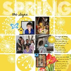 Our Signs of Spring_Cheerful Spring 12x12 digital photo book layout; Software: Creative Memories; Artwork: Cheerful Spring; Font: Never Let Go; Instructions on Creative Memories Project Center:   http://projectcenter.creativememories.com/digital/2011/03/our-signs-of-spring-digital-scrapbooking-layout-idea.html#