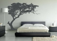 Creative Wallpaper Design With Modern Style For Inspiration Home Decoration With Nice Tree Idea And Chic Bed With Pillow And Nice Area Rug In Modern Bedroom Creating Artistic Wall For Bedroom