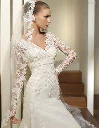 empire waist lace wedding dresses with sleeves Lace Wedding Dress With Sleeves, Long Sleeve Wedding, Long Wedding Dresses, Elegant Wedding Dress, Lace Sleeves, Bridal Dresses, Dresses With Sleeves, Bridal Veils, Modest Wedding