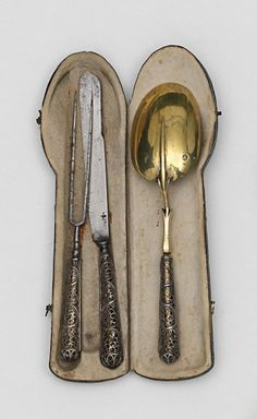 17th/18th century Cutlery set in Leather case. Augsburg mark c.1700, Sold Van Ham Auctioneers, Germany