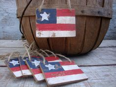 FREE SHIP Set of 5 Grubby Primitive American Flag Tag Wood liberty 4th of July Grungy Signs on Etsy,