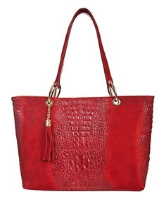 Look at this #zulilyfind! Massimo Castelli Red Croc-Embossed Tassel Leather Tote by Massimo Castelli #zulilyfinds