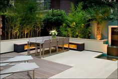I like the wood and concrete deck...integrate this into the pool deck...and built-in bench...??