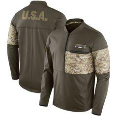 Men s Minnesota Vikings Nike Olive Salute to Service Sideline Hybrid  Half-Zip Pullover Jacket ec89d5fae
