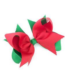 10.99 Look at this #zulilyfind! Red & Green Layered Bow Clip #zulilyfinds