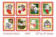 Digital clipart Christmas Kittensstamps kittens by TheDigitalChick, $1.50