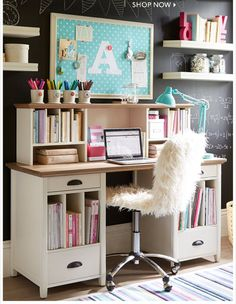 awesome Kids Bedroom: Amusing Teenage Girls Study Room Design Ideas With Stands Free White Wooden Desk And Open Bookshelves Built In Over Black Chalkboard Wall Paint (Top For Teens Room Decor) Girls Bedroom Furniture, Kids Bedroom, Bedroom Decor, Bedroom Ideas, Wall Decor, Teen Furniture, Cheap Furniture, Diy Wall, Furniture Design