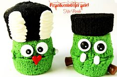 Fun Halloween Treats Frankenstein and Bride via thebearfootbaker.com | The Bearfoot Baker  #halloween #Halloweencupcakes #Halloweentreats  #cookies #cutehalloweentreats #simplehalloweentreats #decoratedcupcakes #thebearfootbaker