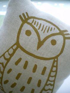 Owl Pillow, Linen Screen printed Owl, Mushroom Pocket. $32.00, via Etsy.