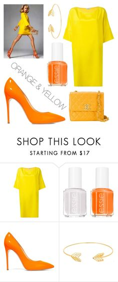 """""""ORANGE & YELLOW"""" by ellakatykat ❤ liked on Polyvore featuring P.A.R.O.S.H., Essie, Casadei, Lord & Taylor and Chanel"""