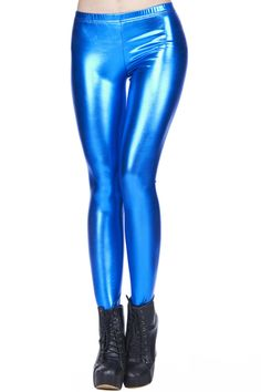 Blue Faux Leather Leggings #Romwe