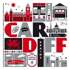 Cardiff, Wales print by TaylorsType.  Spillers Records!  Brains Brewery!  I love this.