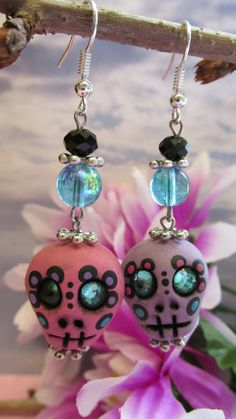 Cute Hand Sculpted and Painted Sugar Skull Earrings on Etsy, $22.00