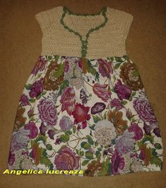 A crocheted and sewed sew dress for my 3 years old daughter Sew Dress, Crochet Clothes, 3 Years, Daughter, Summer Dresses, Sewing, Fashion, 3 Year Olds, Moda