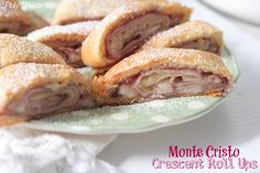 Monte Cristo Crescent Roll Ups!  Quick and simple lunch or appetizer.  Sweet and savory!