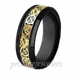 Black Tungsten Carbide Celtic Dragon Inlay Gold Comfort Ring Mens Wedding Band | eBay
