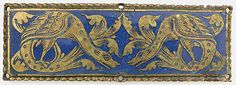 Plaque from a Reliquary Shrine Date: ca. 1185 Geography: Made in Cologne, Germany Culture: German Medium: Champlevé enamel, copper alloy, gilt Dimensions: Overall: 3 3/8 x 1 1/8 x 1/8 in. (8.6 x 2.9 x 0.3 cm) Classification: Enamels Credit Line: Gift of J. Pierpont Morgan, 1917 Accession Number: 17.190.2143 Metropolitan Museum of Art, New York