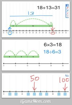 A free math app helping visualize math concepts of addition, subtraction, multiplication, division, skip pattern. Great teaching and learning tool. Math For Kids, Fun Math, Math Games, Math Activities, Learning Apps, Learning Tools, Kids Learning, Teaching Math, Math Tutor