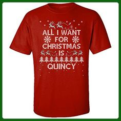 All I Want For Christmas Is Quincy Ugly Sweater - Adult Shirt M Red - Holiday and seasonal shirts (*Amazon Partner-Link)