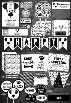 Printable Black and White Puppy Face Birthday Party Package | Kids Puppy Dog Paw-ty Invitation | Modern Monochrome Puppy Face Invite | Puppy Adoption Sign | Bone Appetit | Cupcake Toppers | Favor Tag | Banner | Photo Props | Food Labels | Water Bottle Labels
