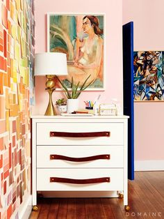 Paint Swatch Wall and DIY Dresser With Leather Handles