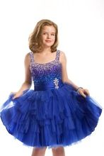 11 year old prom dresses blue beading tulle short glitz pageant dresses for girls prom(China (Mainland))