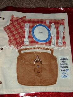 How to Make a Quiet Book: Page 21: Picnic basket/table setting